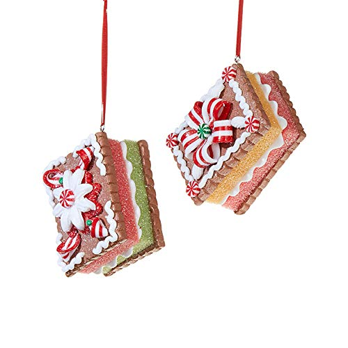 Glitter Red White Gingerbread 3 inch Foam Decorative Christmas Ornament, Set of 2