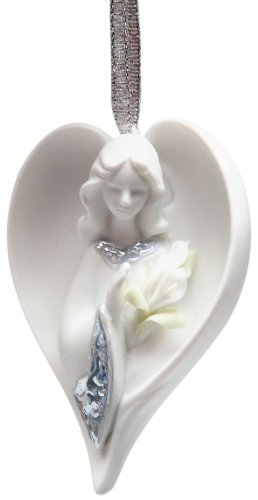 Appletree Design Inspirations from Above Angel with Flower Ornament, 1-Inch Tall, Includes Ribbon for Hanging