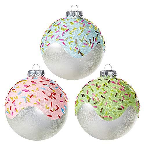 Raz Sprinkle Pink Green Blue Glazed Ball 4 inch Glass Decorative Christmas Ornament, Set of 3