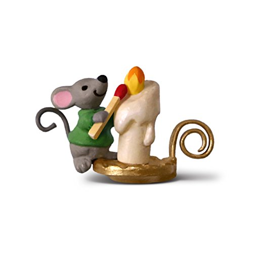Hallmark Keepsake Mini Christmas Ornament 2018 Year Dated, A Creature was Stirring Mouse with Candle Miniature, 0.83″