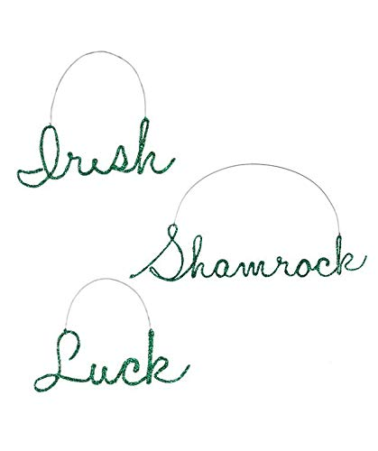 Bethany Lowe St. Patrick's Wire Word Ornament (Set of 3)