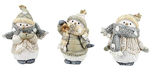 Set of 3 Assorted Ganz 2.5″ Glittered Resin Snowman Figurines
