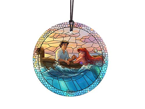 Trend Setters Disney – The Little Mermaid – Falling in Love – Artwork by Thomas Kinkade Studios – Starfire Prints Hanging Glass – Ideal for Gifting and Collecting