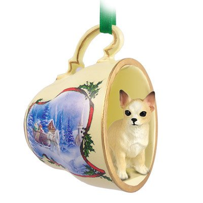 Conversation Concepts Chihuahua Tan & White Tea Cup Sleigh Ride Holiday Ornament