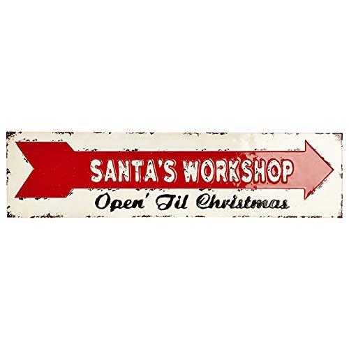 RAZ Imports 24″ Santa's Workshop Metal Sign