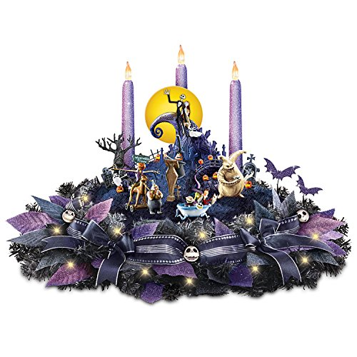 The Bradford Exchange Disney Nightmare Before Christmas Floral Centerpiece with Lights and Music