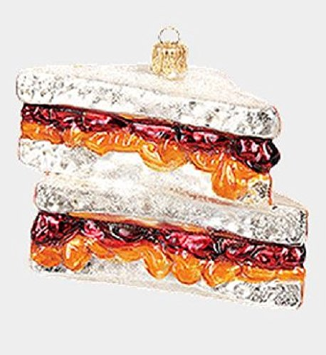 Pinnacle Peak Trading Company Peanut Butter and Jelly Sandwich Polish Glass Christmas Ornament Decoration