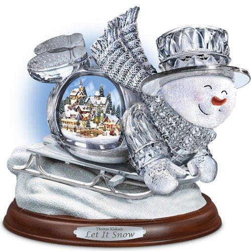 The Bradford Exchange Thomas Kinkade Crystal Sledding Snowman: Let It Snow Figurine