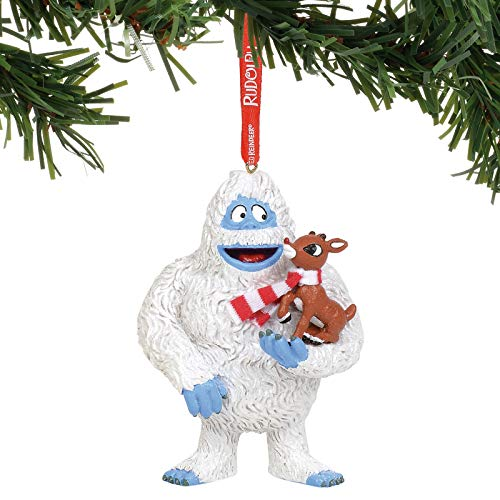 Department 56 Rudolph The Red-Nosed Reindeer with Bumble Hanging Ornament, 4″, Multicolor