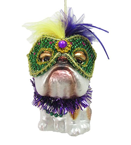 December Diamonds Glass Ornament – Bulldog, Mardi Gras Theme