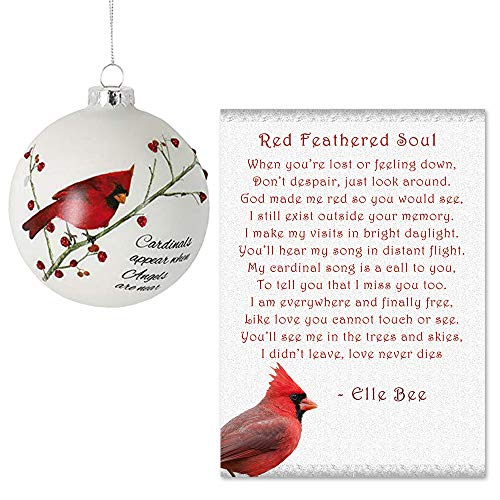 Lola Bella Gifts and Burton and Burton Cardinals Appear When Angels are Near Ornament with Red Feathered Soul Poem