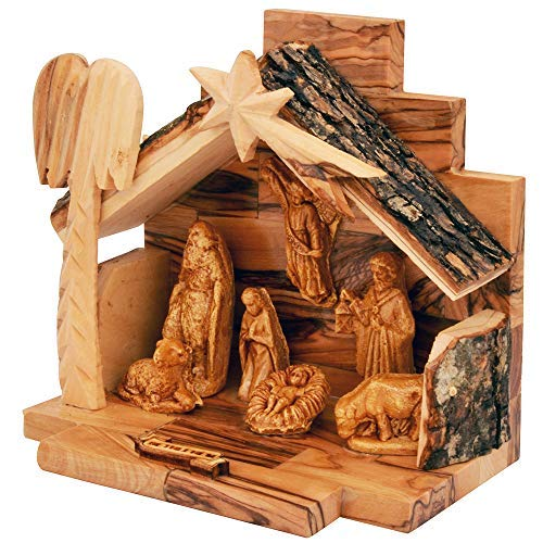The Jerusalem Gift Shop Olive Wood Nativity Set with Figurines Bark Roof Stable   Made in Bethlehem with Christmas Tree Decoration