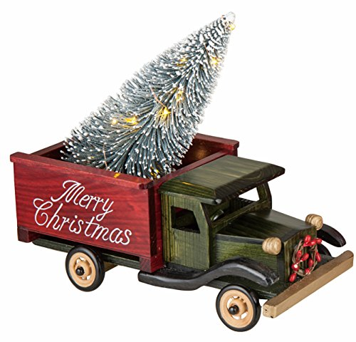 LED Light-up Merry Christmas Wooden Truck with Lighted Bottle Brush Christmas Tree Holiday Decoration (Green)