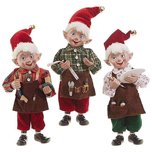 RAZ Imports 10-Inch Holiday Santa's Workshop Elves – Set of 3