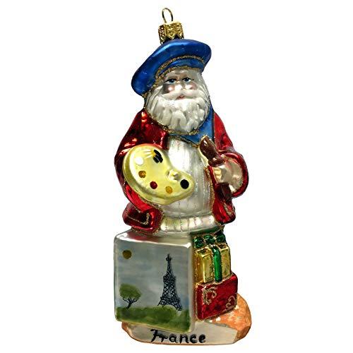 Pinnacle Peak Trading Company French Santa Painting Eiffel Tower Polish Glass Christmas Tree Ornament France
