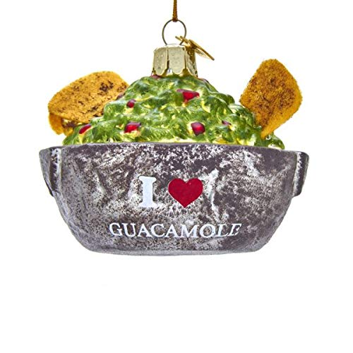 Kurt Adler Noble Gems I Love Guacamole Bowl Glass Hanging Ornament, 3.5 inches Tall