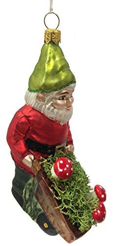 Pinnacle Peak Trading Company Gnome with Wheelbarrow of Red Mushrooms Polish Glass Christmas Tree Ornament
