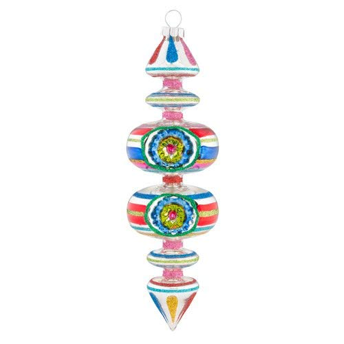 Christopher Radko Whimsy Shape Colorful 7 inch Glass Holiday Decorative Hanging Ornament
