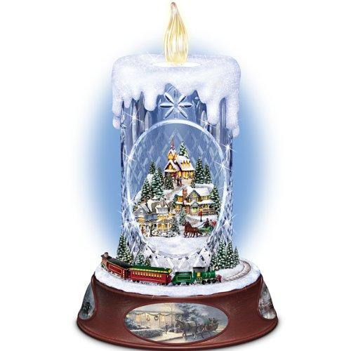 The Bradford Exchange Thomas Kinkade Musical Tabletop Centerpiece Crystal Candle: Making Spirits Bright