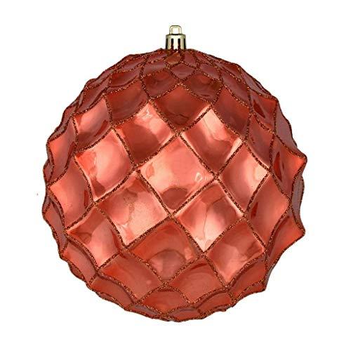 Vickerman 625118-4″ Coral Shiny Form Ball Christmas Tree Ornament (6 pack) (N192071D)