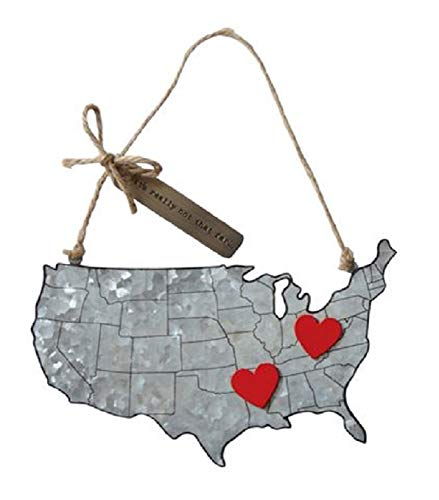 Not That Far Galvanized Tin Map Ornament with Magnet