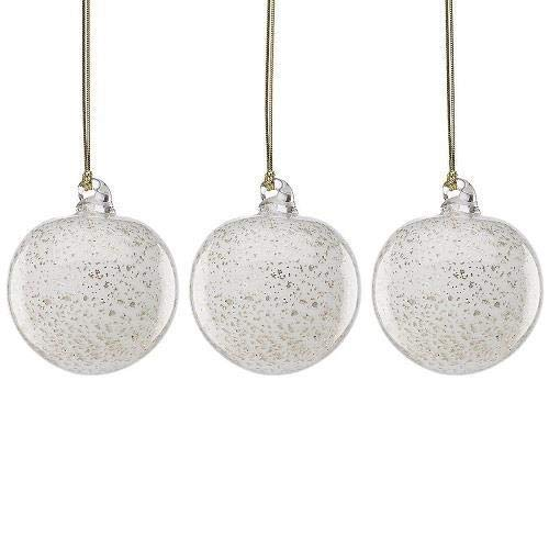 None Lenox Art Glass Silver/Gold/White Holiday Ornaments Set of 3