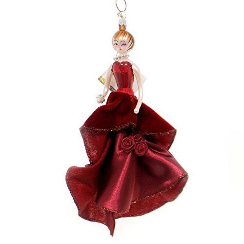 De Carlini Lady in Burgundy Evening Gown Italian Christmas Ornament Do7581
