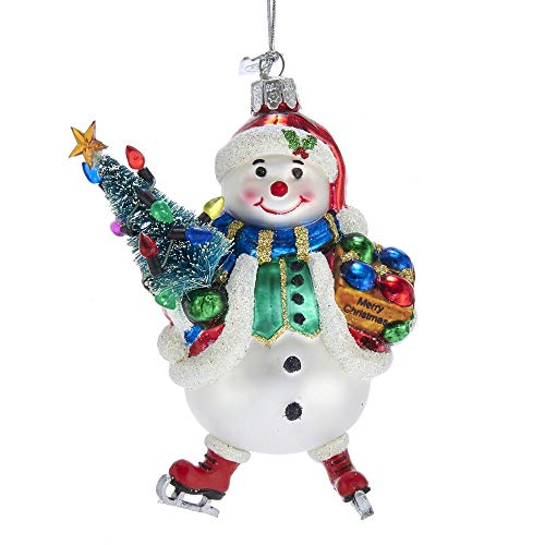 Kurt Adler Noble Gems Snowman with Christmas Tree Glass Hanging Ornament, 5 Inches Height
