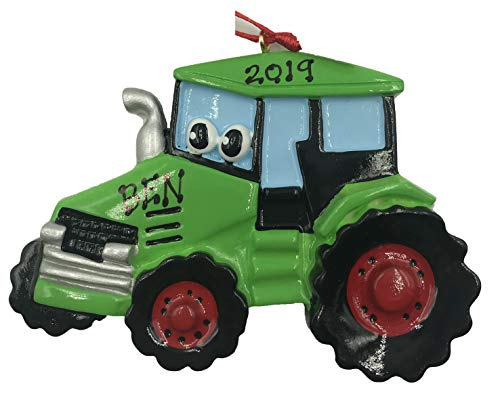 Rudolph and Me Personalized Green Tractor Farmer Christmas Ornament 2019