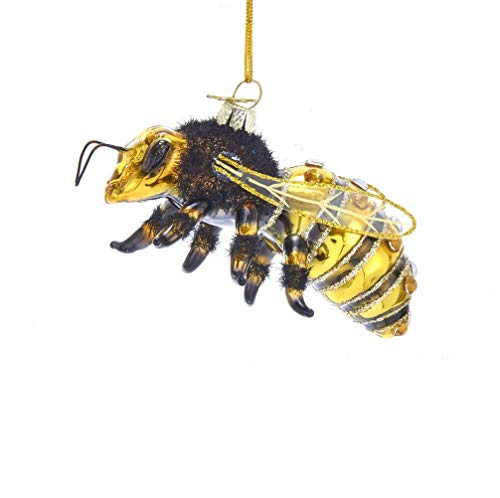 Kurt-Adler Glass Ornament with S-Hook and Gift Box, Animal Collection (Honey Bee, NB1455)