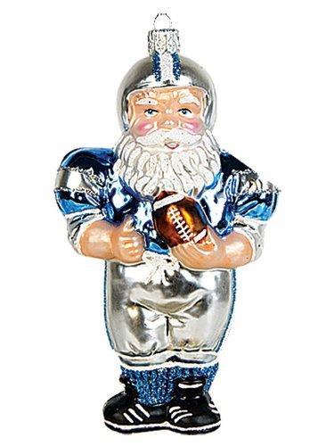Pinnacle Peak Trading Company Football Player Santa Claus Polish Blown Glass Christmas Ornament Decoration