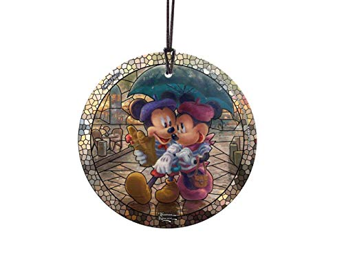 Trend Setters Disney – Mickey and Minnie in Paris – Artwork by Thomas Kinkade Studios – Starfire Prints Hanging Glass – Ideal for Gifting and Collecting