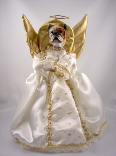 Conversation Concepts Bulldog White Angel Tree Topper