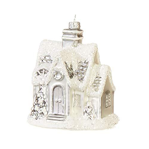 Raz Peaceful White Snowcapped House 6 inch Glass Decorative Christmas Ornament