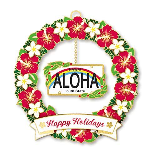 Island Heritage Hawaiian License Plate Metal Die Cut Christmas Ornament