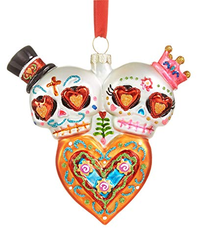 Holiday Lane Skulls and Heart Day of The Dead Ornament