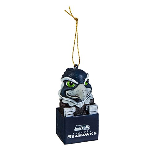Team Sports America Seattle Seahawks NFL Tiki Totem Mascot Ornament, Set of 4