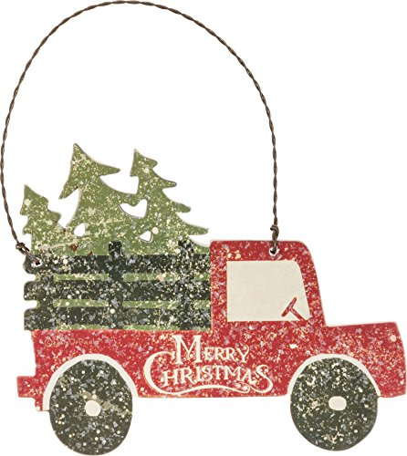 Primitives by Kathy 5 Inches x 4 Inches Paper Wire Wood Tree Truck Ornament Home Decor