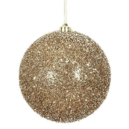 Vickerman 510971 – 6″ Champagne Tinsel Ball Christmas Christmas Tree Ornament (2 pack) (N178238)