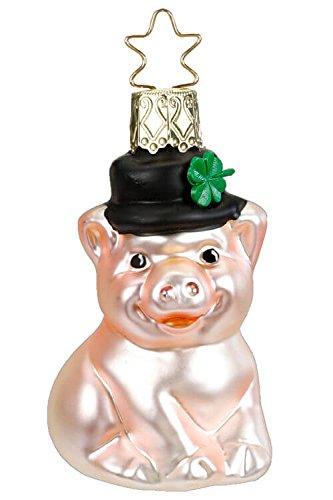 Inge-Glas Lucky Piggy Clover Hat 10132S018 German Blown Glass Christmas Ornament