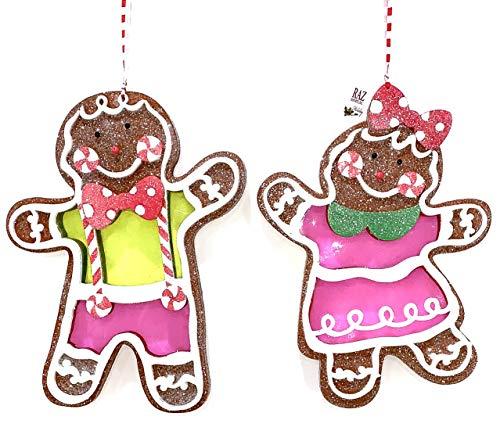 Raz Imports 13 inch Glitter Gingerbread Ornament Set of 2 Boy & Girl