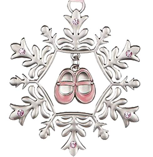 Baby Girl's First Christmas Snowflake and Baby Shoes Ornament for Holiday Tree Decor Xmas Gifts 2019