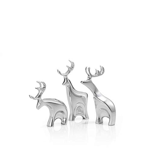 Nambe Miniature Blitzen Reindeer Christmas Set – 3 Pieces