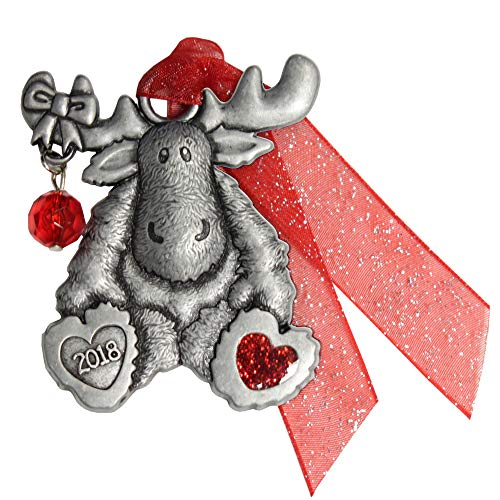 Gloria Duchin Pewter Moose with Bead Christmas Ornament, Silver and Red