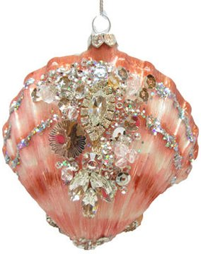 December Diamonds Glass Ornament – Shell with Stones