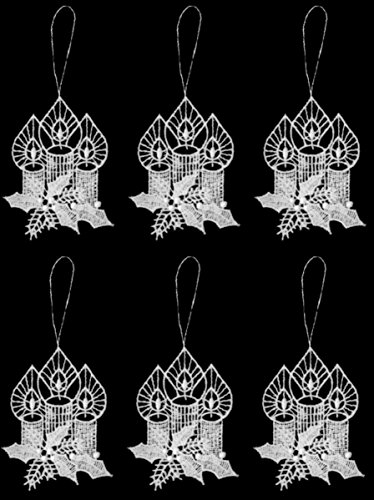 Pinnacle Peak Trading Company Candles with Holly German Lace Christmas Tree Ornaments Set of 6 Decorations