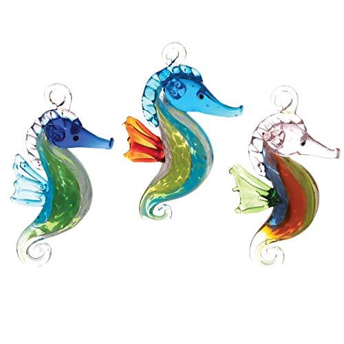 GALLERIE II Festive Seahorse Artglass Holiday Christmas Xmas Ornament Glass A/3