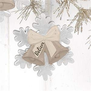 Blossom Bucket Christmas Bells with Believe Tag Ornament