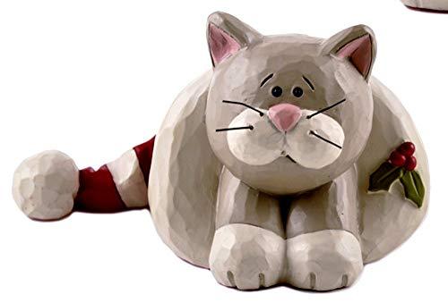 Blossom Bucket Grey Cat Inside Christmas Hat 3.25″ x 2″ Resin Tabletop Figurine #1