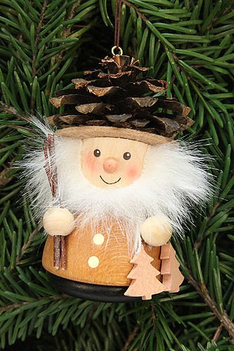 Authentic German Erzgebirge Handcraft Tree Ornaments Tree Ornament Teeter Man Cone Man Natural – 8,0cm / 3.1inch – Christian Ulbricht